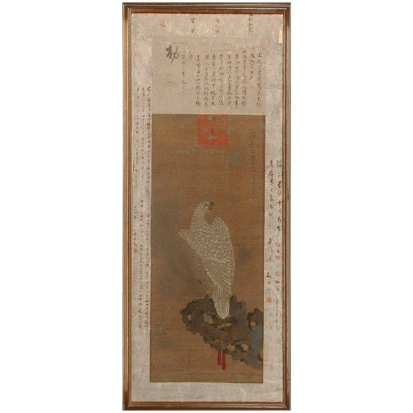 576: Chinese Painting, Hawk & Calligraphy, Ming Dynasty