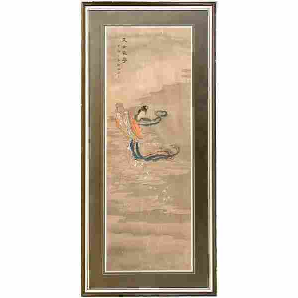 Chinese Painting on Silk, Quan Yin, signed, Qing