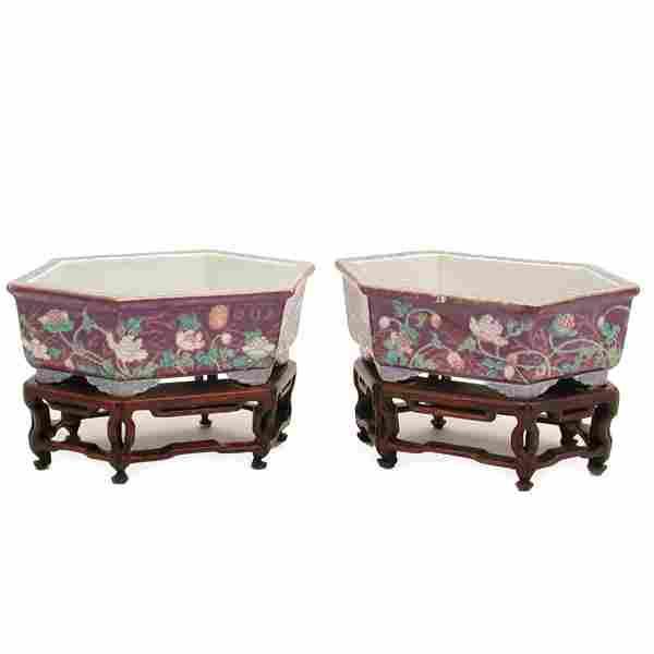 Pair Chinese Aubergine Jardiniere, Qing Mark