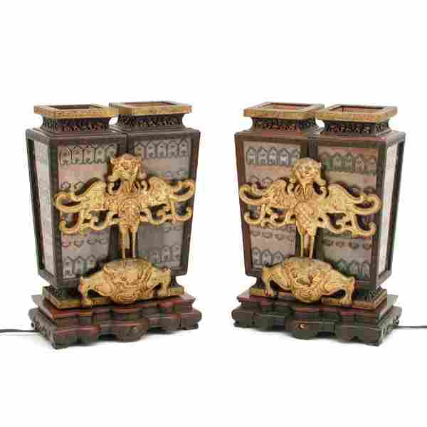 """Pair of Chinese Double Urn Lamps, 12 3/4"""" tall"""