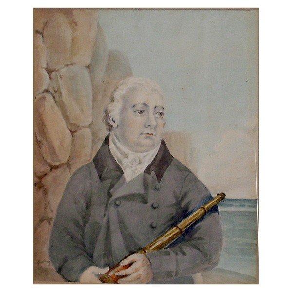 10: Portrait of a sea captain holding his 3 draw telesc