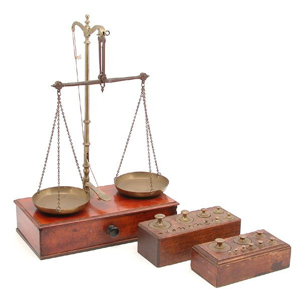 19: Stevens & Sons Brass Balance Scale & Weights