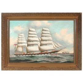 155: R. Spencer oil on canvas of clipper ship COLUMBIA