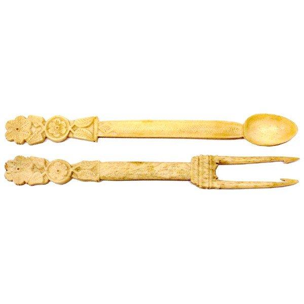 248: Antique scrimshaw spoon & 2 tine fork, whale bone