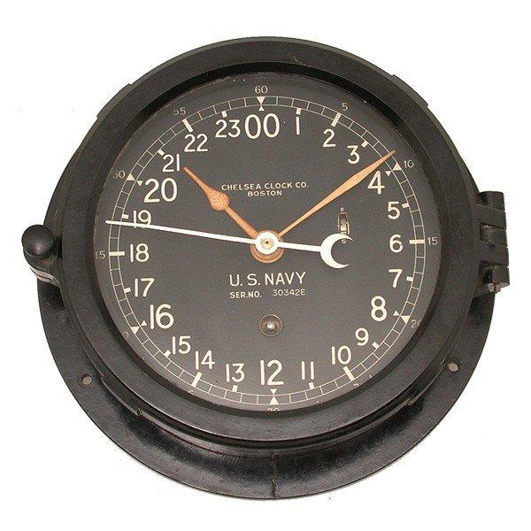 384: U.S. Navy 24 hr ships clock, Chelsea Clock Co