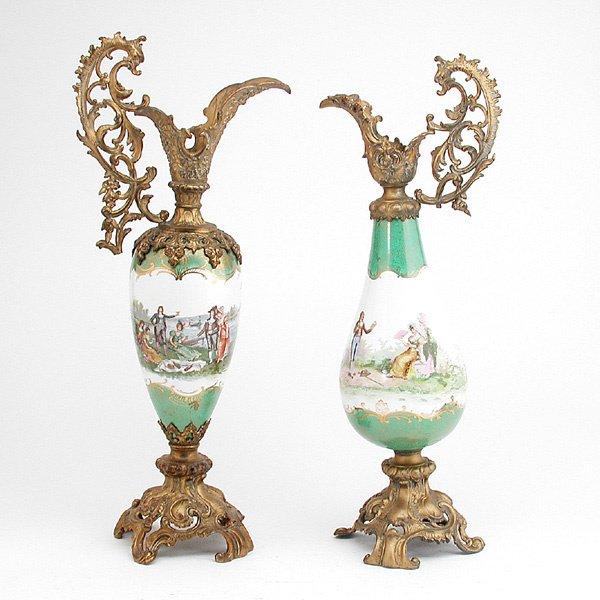 7: Pair of Metal Mounted Porcelain Ewers