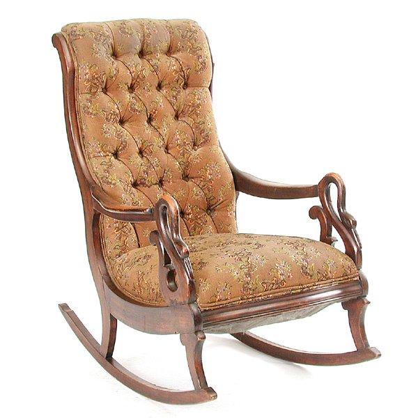 11: 19th c. Swan Arm Rocking Chair