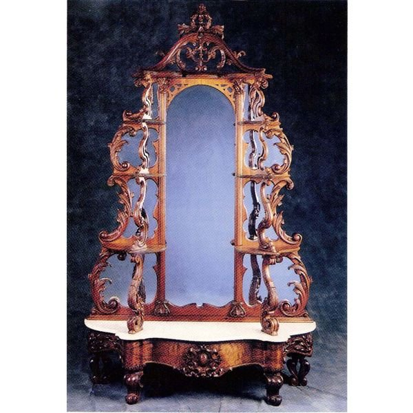 19: Victorian Rosewood Mirror Back Etagere
