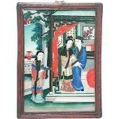 378 Chinese Reverse Glass Painting Seduction