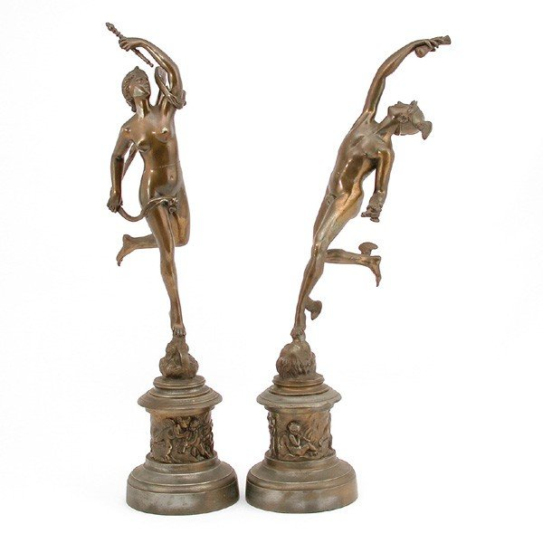 5: Two Victorian Statues, Mercury and Diana