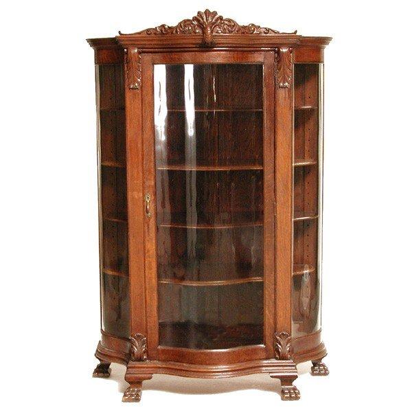 7: American Serpentine Oak China Cabinet, 19th c.
