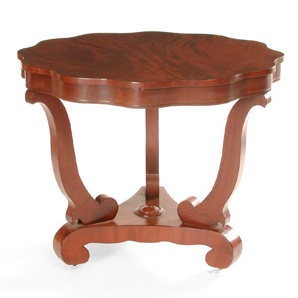 14: American shaped Top Mahogany Center Table