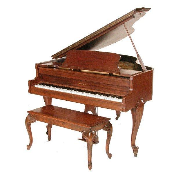 20: Behr Bros Mahogany Baby Grand Piano with Bench