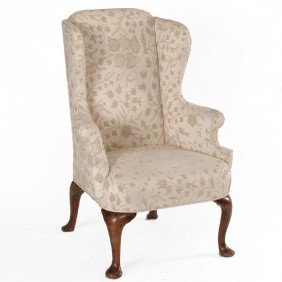Wingback Arm Chair With Crewelwork Upholstery
