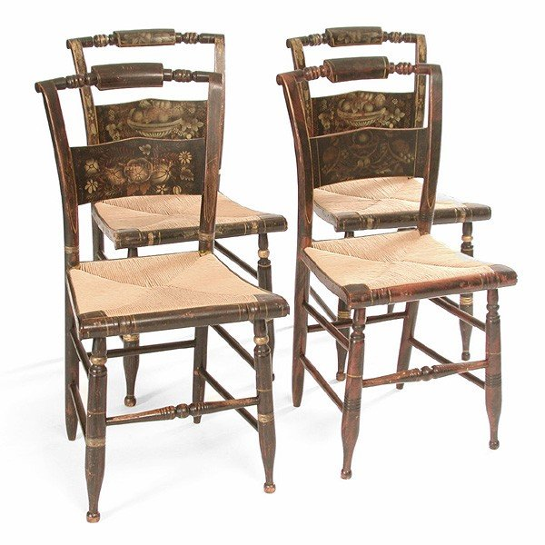 122: Set of Four Hitchcock Chairs