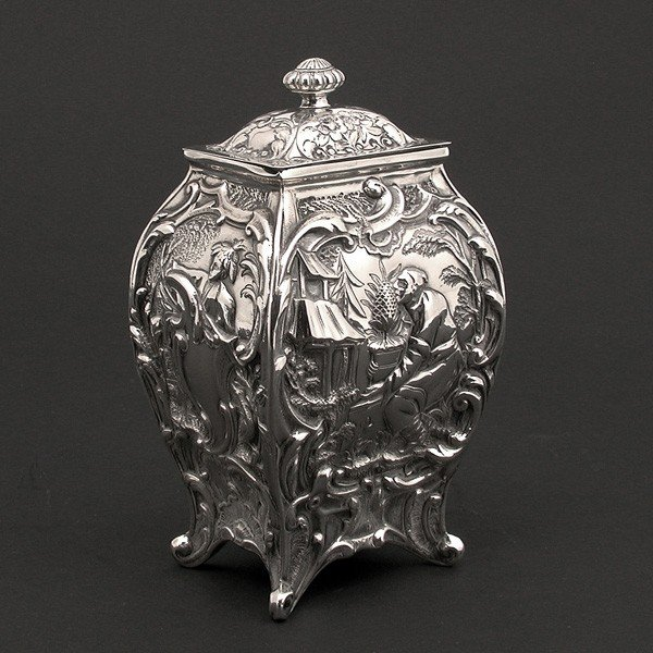 132: Sterling Silver English Style Tea Caddy