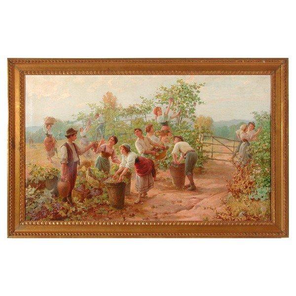 292: Carlo Ferranti (1840-1908) Painting, Grape Harvest