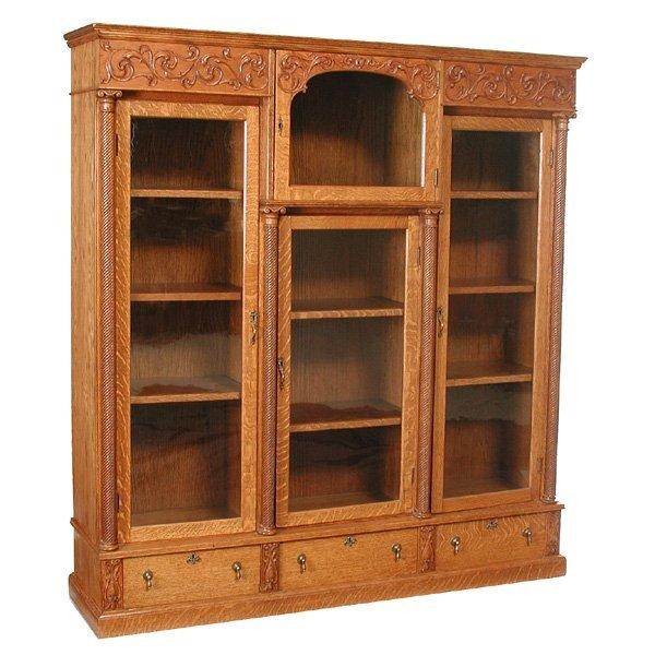 5: American Oak Triple Wide Bookcase, 19th century