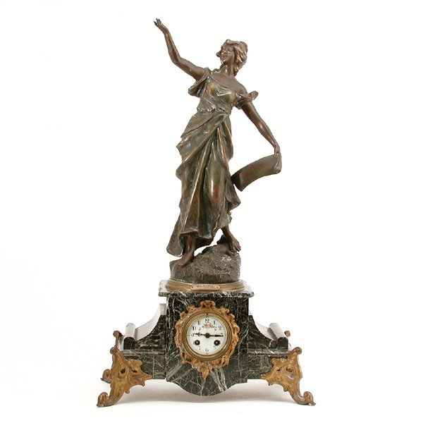 "6: Figural Mantel Clock ""Gloire"", After George Maxim"