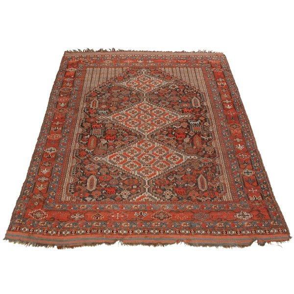 """8: Antique Three Medallion Carpet, 8'2"""" x 5'6"""""""