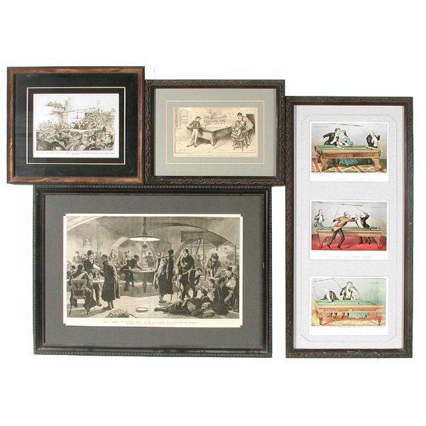 22: 3 Framed Engravings and 3 Framed Prints, Billiards
