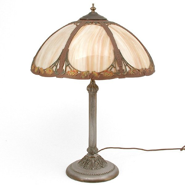 41: Slag Glass Art Nouveau Table Lamp
