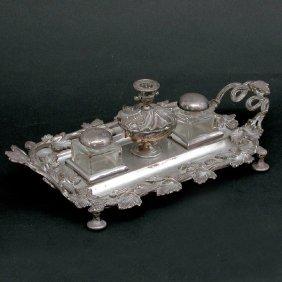 Mid-Victorian Silverplate Inkstand