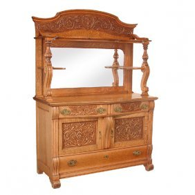 Fancy American Oak Sideboard, 19th Century