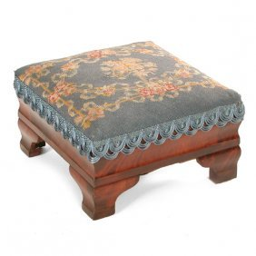 American Empire Foot Stool, Needlepoint Top