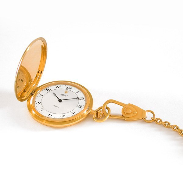 136: 18K Yellow Gold Rolex Pocket Watch with Rolex Fob