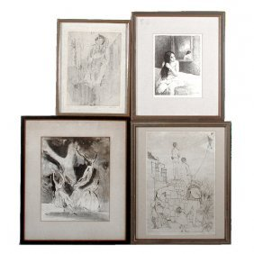 "Soyer, Osucha, Breger, And ""D.R."", 4 Prints"