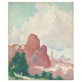 Stan Wood Watercolor, European Mountain Village