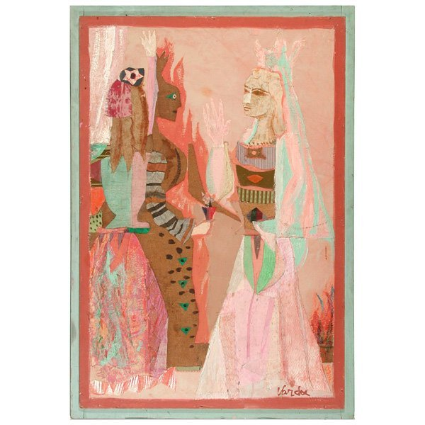 264: Jean Varda, Veiled Figures, Mixed Collage