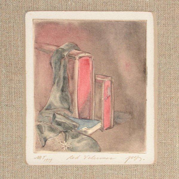 "270: Joseph Goldyne Monotype, ""Red Volumes"""