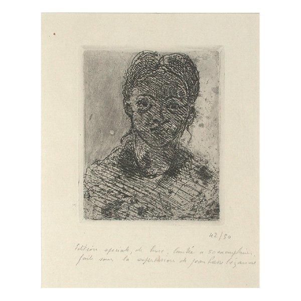 """271: P. Cezanne Etching, """"Tete de Jeune Femme d'Aix"""""""