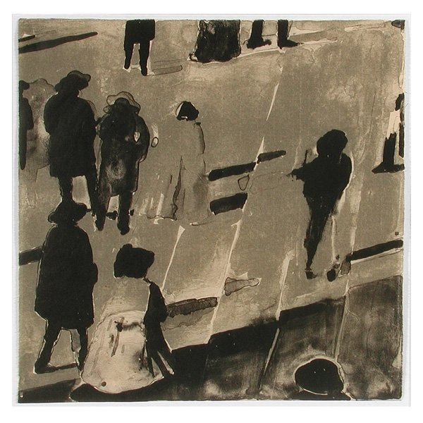 281: Christopher Brown Lithograph, People Walking