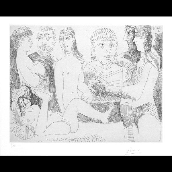 """286: Pablo Picasso Etching, """"Femme Faisant La Sieste"""""""