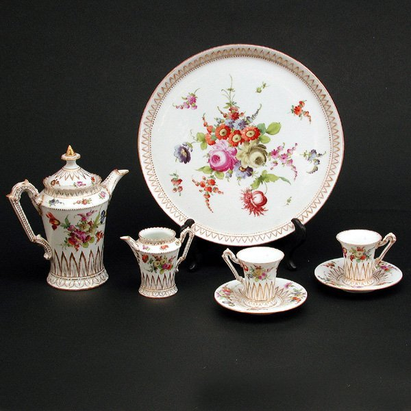317: Dresden Demitasse Porcelain Chocolate Set