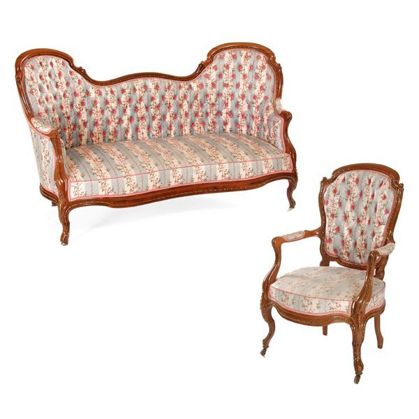 22: American New Orleans Rosewood Parlor Set