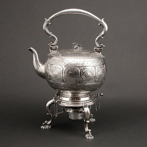 102: Elkington & Co. Victorian Tea Kettle, 1879