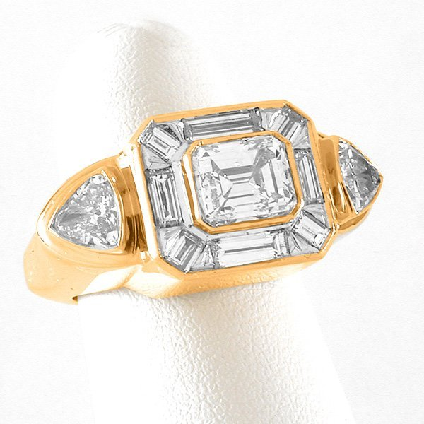 127: 14 Karat Gold Emerald-Cut Diamond Ring
