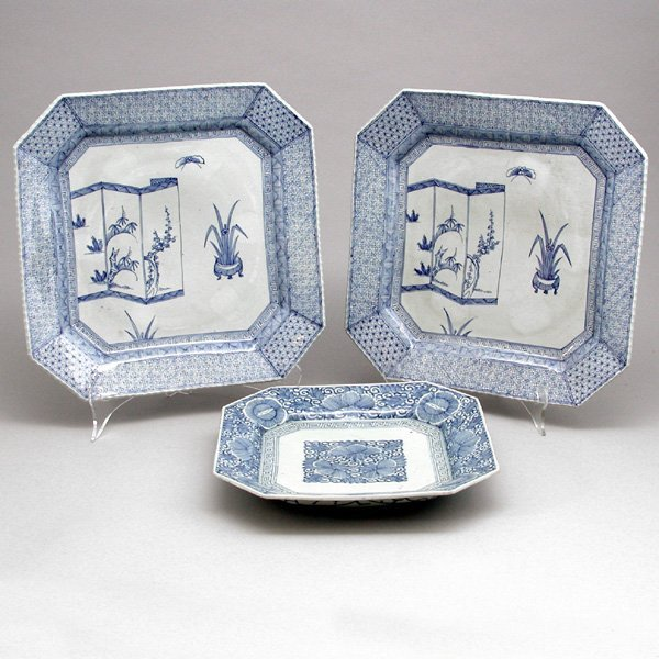 475: 3 Japanese Blue & White Porcelain Chargers, 19th c