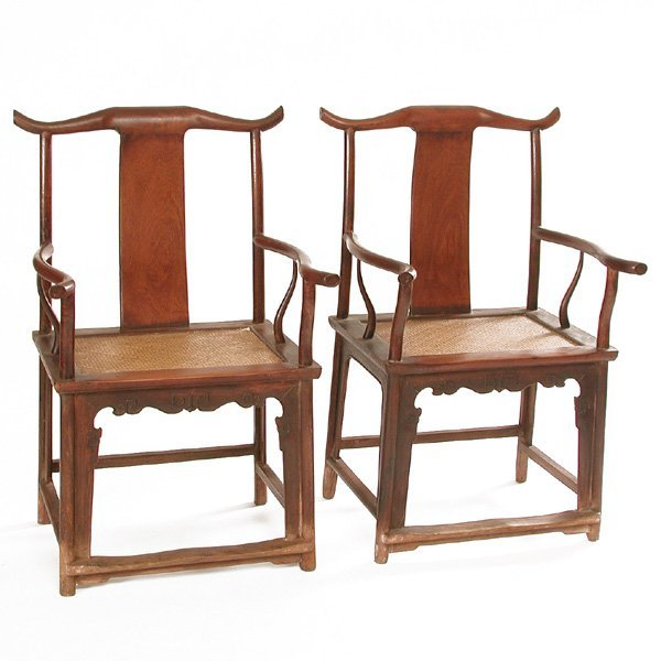640: Pair of Chinese Huanghuali Armchairs