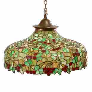 Tiffany Style Stained Glass Light Fixture, 20th c