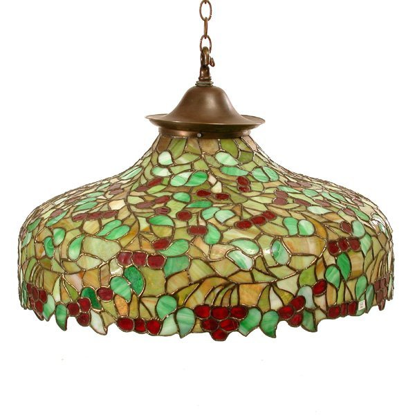 9: Tiffany Style  Stained Glass Light Fixture, 20th c