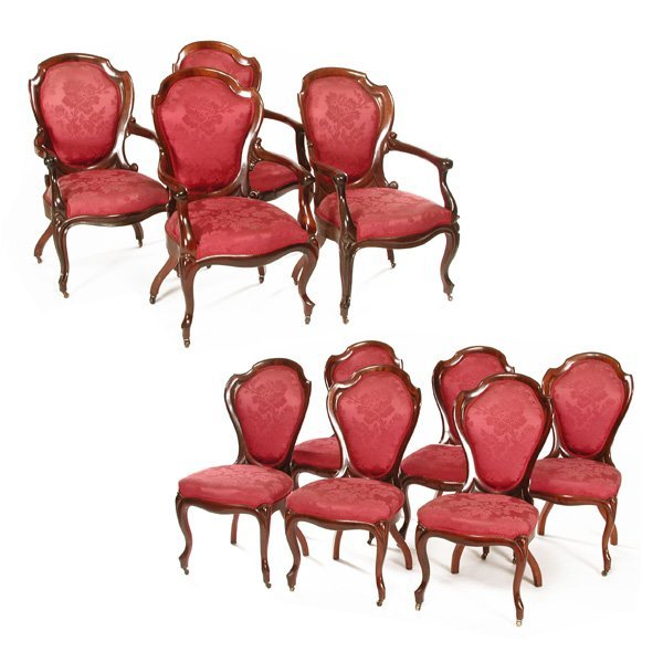 13: 10 John Henry Belter Rosewood Chairs