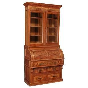 American Eastlake Victorian Walnut Barrel Roll Desk