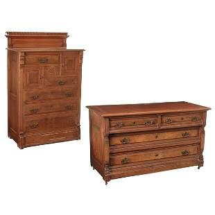 American Eastlake Walnut Highboy & Dresser, 19th c