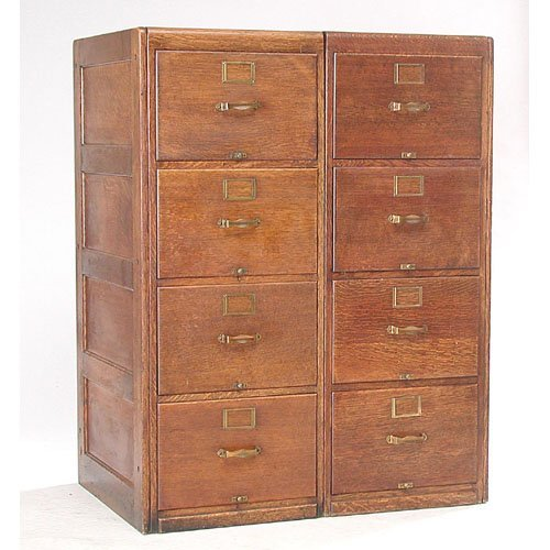 4: Pair of Legal Size Oak File Cabinets.