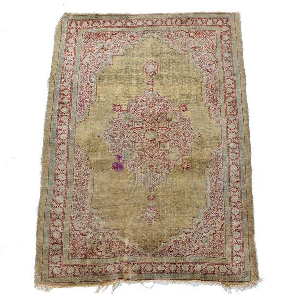 "Miniature Persian Silk Rug, 2' 8"" x 1'  10"""
